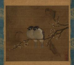 Two birds on a blossoming branch, China, Southern Song dynasty (1127-1279) or later. Hanging scroll. H. 9 3/4 in x W. 11 in, H. 24.8 cm x W. 27.9 cm (image); H. 41 1/2 in x W. 17 in, H. 105.4 cm x W. 43.2 cm (overall). Museum purchase, B69D3 © 2016 Asian Art Museum Chong-Moon Lee Center for Asian Art and Culture