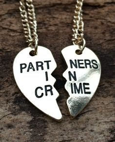 BFF Gifts for Her: Partners in Crime Best Friends / Couples Heart Necklaces by Tinks by Justine @ Etsy The perfect gift for my best! Bff Gifts, Best Friend Gifts, Cute Gifts, Gifts For Friends, Gifts For Her, Bff Necklaces, Couple Necklaces, Best Friend Necklaces, Partners In Crime Necklace
