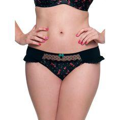 Curvy Kate Cherie Briefs, Cherry Print ($24) ❤ liked on Polyvore featuring intimates, panties, curvy kate, shelf bra, balconette bra, balcony bra and nylon lingerie