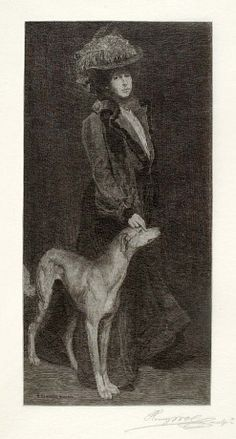 A Portrait (Lady and Dog) 1905, Henry Wolf, Harper's Monthly (Publisher), wood engraving on paper, image: 7 5/8 x 3 3/4 in. (19.5 x 9.5 cm, Smithsonian American Art Museum, Transfer from the Archives of American Art, Smithsonian Institution,1973.130.212
