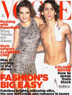 May 2007 Natalia Vodianova wears a sequinned silk minidress, £1,855, Emilio Pucci. All make-up by Chanel. For Natalia: Hair: Sam McKnight. Make-up: Charlotte Tilbury. Nails: Lorraine Griffin. For Johnny Borrell: Hair: Corrado Tevere. Grooming: Lyz Marsden for Chanel. Johnny's stylist: Cara Randell. Fashion editor: Lucinda Chambers. Photographed by Mario Testino.