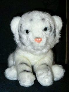 2f98ad6ec15 Animal Alley Toys R Us Stuffed Plush Beanie Baby White Tiger Cub 10in Baby White  Tiger