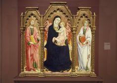 Sano di Pietro - Madonna con Bambino e Santi Giacomo Maggiore e San Giovanni Evangelista - 1450 ca. - Brooklyn Museum, New York