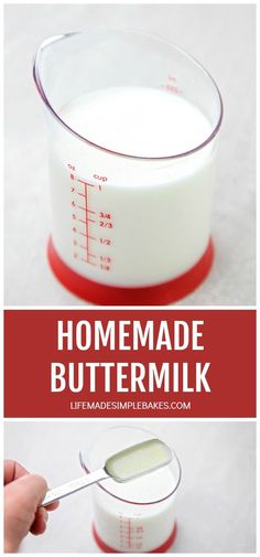 Out of buttermilk? No problem! This easy homemade buttermilk is super easy to make and only requires two ingredients! #buttermilk #substitute #milk Buttermilk Banana Bread, Buttermilk Cornbread, Buttermilk Recipes, Homemade Buttermilk, Easy Delicious Recipes, Delicious Desserts, Yummy Food, Dairy Free Recipes, Gourmet Recipes
