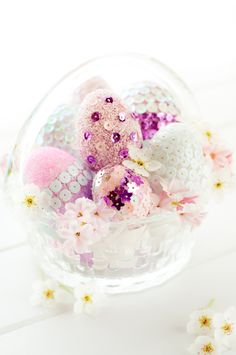 : Pink Sequin and Glittered Eggs