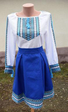 f1fff94fde8288 Жіночий костюм в українському стилі. Складається з білої сорочки на довгий  рукав та спідниці середньої