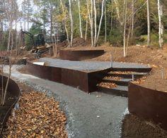 Ribbons of Steel, Nova Scotia Steel Retaining Wall, Garden Retaining Wall, Retaining Walls, Landscape Materials, Garden Landscape Design, Landscape Architecture, Back Gardens, Outdoor Gardens, Saint Andres