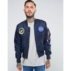 Alpha Industries MA-1 Bomber Jacket With NASA Patches In Navy Slim Fit ($240) ❤ liked on Polyvore featuring men's fashion, men's clothing, men's outerwear, men's jackets, navy, mens light weight jackets, mens slim jacket, mens slim fit jacket, mens nylon bomber jacket and mens navy blue jacket