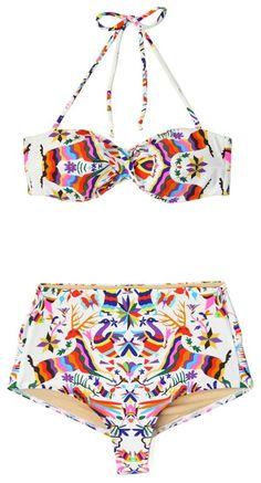 Bikini de tiro alto con diseño colorido