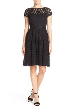 Ellen Tracy Womens Black Eyelet Lace Fit & Flare Dress Size 4 #EllenTracy #fitflare
