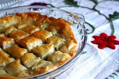 Easy Baklava baked in a pie dish