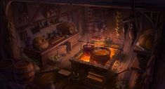 Medieval Kitchen by Heewon Jang in 2020 Fantasy concept art Fantasy rooms Fantasy shop
