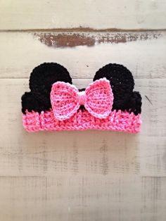 Crochet Toddler, Baby Girl Crochet, Crochet Baby Hats, Crochet For Kids, Baby Knitting, Crochet Headband Free, Minnie Mouse Headband, Crochet Minnie Mouse Hat, Crochet Hair Accessories