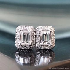 Materials: silver, cubic zirconia ##handmade Silver Earrings, Stud Earrings, Cubic Zirconia Earrings, Emerald Cut, Handmade, Free, Jewelry, Products, Hand Made