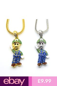 Iced Out Bart Simpson Chain Pendant Necklace Shiny Icy Jewels Ice Bling Gangsta