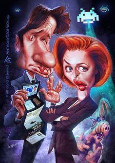 """Caricaturas de Famosos: """"David Duchovny, Gillian Anderson y Alf"""" por Antho..."""