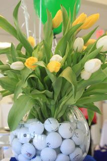 Golf Ball Gifts golf balls in a vase. perfect for spring and golf lovers! Golf Centerpieces, Golf Decorations, Grass Centerpiece, Golf Ball Crafts, Masters Golf, Golf Outing, Golf Theme, Golf Party, Golf Exercises