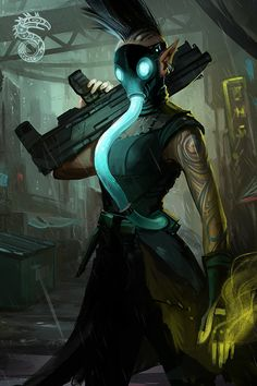 Shadowrun. Elven magician/adept with gas mask                                                                                                                                                                                 More