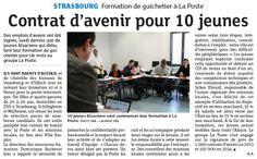 [Actualité] Signature de dix contrats d'avenir à Strasbourg pour des formations de guichetier à La Poste © Dernières Nouvelles d'Alsace, 10 déc. 2013, DR.