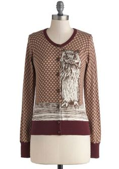 Owl Over Town Cardigan, #ModCloth I need this sweater. I would pair it with a corduroy skirt, textured sweater tights, and boots. perfect for going to class.