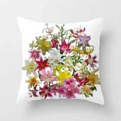 The latest addition to my #etsy shop: Lots of lilies to love floral throw pillow, pillow cover, decorative throw pillow, flower nature inspired living room decor, gift for her http://etsy.me/2BjZW5w #housewares #pillow #rainbow #floral #flower #lily