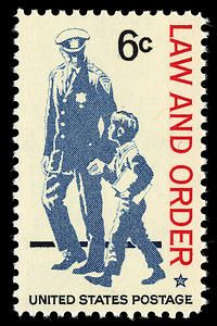 Issued during Police Week in 1968, this stamp reaffirms the traditional role of law enforcement officers as protectors and friends of the citizens they serve.