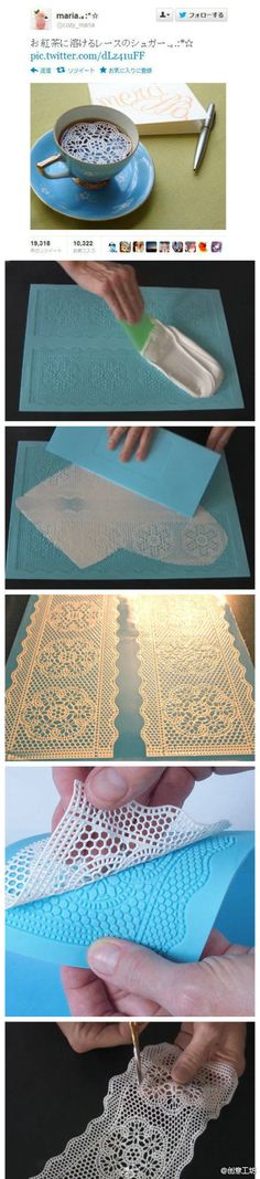 This picture was turned on Twitter 2W times, you certainly can not think of a piece of lace cup is made of sugar, so fantastic is how to do it?  First, the frosting evenly coated on the model, and then wipe with a rubber spatula to thin.  After solidification, you can peel off the cut into the shape you like can be friends!