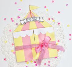 circus tent gatefold card