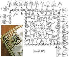 beautiful edging and motif! Crochet Tablecloth Pattern, Crochet Edging Patterns, Crochet Borders, Crochet Diagram, Crochet Squares, Crochet Granny, Crochet Motif, Diy Crochet, Crochet Dollies