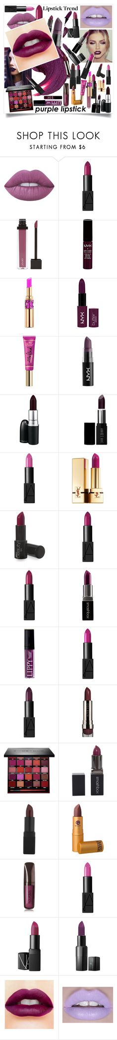 """Purple lipstick"" by lseed87 ❤ liked on Polyvore featuring beauty, Lime Crime, NARS Cosmetics, Jouer, NYX, Yves Saint Laurent, Too Faced Cosmetics, MAC Cosmetics, Lord & Berry and Smashbox"