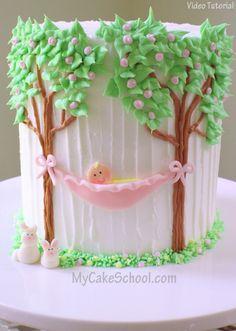 Sweet Baby in a Hammock- Cake Video tutorial by MyCakeSchool.com!