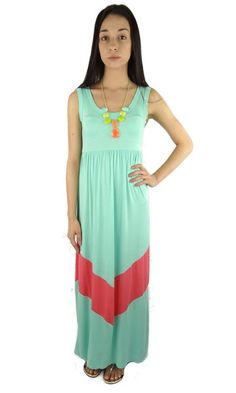 Sleeveless Chevron Maxi Dress - Mint/Pink