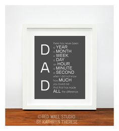 Dad Gift Fathers Day For Him Wedding Birthday Father Of The Bride Groom Present 8x10 Inch Wall Art Print