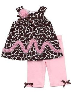 Amazon.com: Rare Editions Girls Giraffe Print Cotton Dress Outfit Set w/ Leggings , Brown , 2T - 4T: Clothing