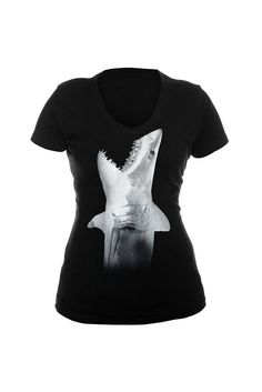 Goodie Two Sleeves Shark Attack V-Neck Girls T-Shirt