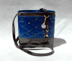 Your place to buy and sell all things handmade Vegan Handbags, Blue Handbags, Glitter Vinyl, Blue Glitter, My Other Bag, Blue Bags, Crossbody Bags, Bucket Bag, Purses And Bags