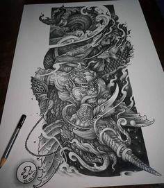 Cool Tattoos, Tatoos, Thai Tattoo, Tattoo Flash Art, Thai Art, Thai Style, Tatting, Sculptures, Statue