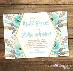 Mint Bridal Shower Invitation Bridal by InvitingDesignStudio
