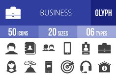 50 Business Glyph Icons by IconBunny on @creativemarket