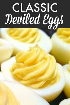 Classic Deviled Eggs   A simple recipe for perfect deviled eggs that can be dressed up with pickle relish, paprika or whatever your favorite add-ins are. Devilled Eggs Recipe Best, Deviled Eggs Recipe, Perfect Deviled Eggs, Classic Deviled Eggs, Easter Dinner Recipes, Appetizer Recipes, Easter Deviled Eggs, Southern Deviled Eggs