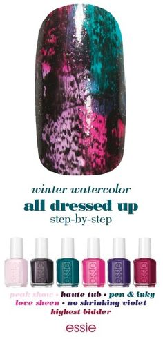 """All dressed up this winter with watercolor nail art.     1. after a thin layer of essie base coat, apply two coats of 'peak show' 2. envision the nail as four quarters, starting at the top right and moving clockwise, paint 'silk watercolor pen & inky,' 'love sheen,' 'highest bidder,' and then 'love sheen' again 3. once dry, use a dry brush technique to quickly apply 'haute tub,' for a modern patina look 4. seal with any 'essie top coat'"""""""