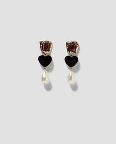 ZARA - WOMAN - GLASS EARRINGS WITH HEART AND FAUX PEARL