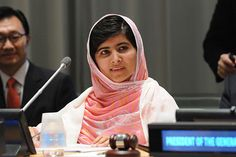 """24 July 2013 - Education activist Malala Yousafzai of Pakistan speaks about the importance of education, particularly for girls, at a special UN Youth Assembly on her birthday, 16 July – declared as Malala Day. Malala was shot by the Taliban for championing girls' education in her country. Education is an essential human right, yet 57 million children are out of school. """"One child, one teacher, one book and one pen can change the world,"""" Malala said. ©UNICEF/Susan Markisz"""