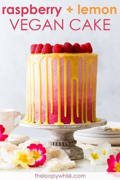 Vegan Raspberry & Lemon Cake [SPONSORED] - This vegan raspberry & lemon cake is as pretty as it is delicious. With fluffy, moist vegan sponges generously scented with lemon zest, a luscious vegan frosting, a refreshing vegan lemon curd and an abundance of Desserts Keto, Vegan Dessert Recipes, Vegan Treats, Vegan Foods, Cupcakes, Cupcake Cakes, Vegan Lemon Curd, Raspberry Lemon Cakes, Lemon Curd Cake
