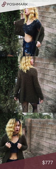 Green Fuzzy Cardigan Not the actual price just putting here till I decide whether to sell or not. Grunge af. Olive green mottled to perfection. M/L oversized fit. Very similar to the one Kurt Cobain wore. #grunge #90s #streetwear #skater #hippie #retro #nirvana Urban Outfitters Sweaters Cardigans