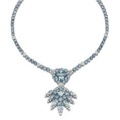 AQUAMARINE AND DIAMOND NECKLACE, Suspending to the front a pendant set with kite-shaped, triangular and circular-cut aquamarines, highlighted with brilliant-cut diamonds, to a similarly set back