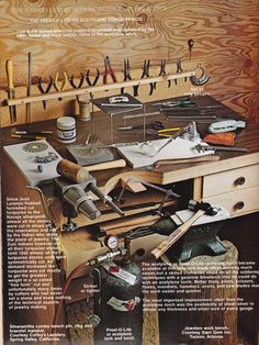 Book ~ Indian Jewellery Making by Oscar T. Branson.   The Navajo silversmith workshop, jewelers work bench. Courtesy Starr Gem Inc. Tucson, Arizona