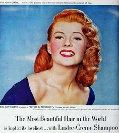 Rita Hayworth for Lustre-Creme shampoo, early 1950s.