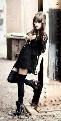 Dress, tights, and black boots - http://ninjacosmico.com/11-ways-wear-black-dresses-summer/