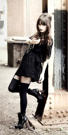 Dress, tights, and black boots - http://ninjacosmico.com/11-ways-wear-black-dresses-summer/